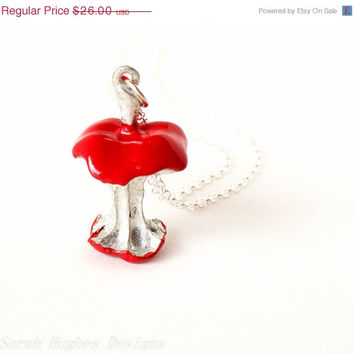 VALENTINES DAY SALE Bright red eaten candy apple core pendant silver necklace