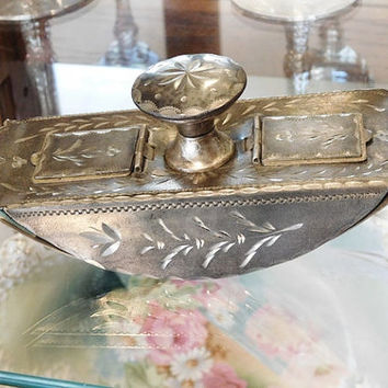Antique Stamp Blotter Victorian Late 1800s  Early 1900s Arts and Crafts Period Eastlake Etched Engraving Rocker Blotter Silver Plated Plate