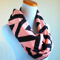 Champagne Black Big chevron infinity jersey knit loop scarf