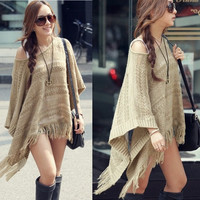 Sweet Women Hollow Out Tassel Knitted Sweater Comfortable Loose Bat Wing Sleeve Pullover For Pretty Lady (Color: Khaki) = 1946056260