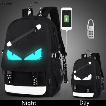Anti Theft backpack USB charging teen Laptop Backpacks For Teenagers Female Mochila Travel backpack School bags Luminous Backpack