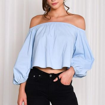 Long Balloon Sleeve Off The Shoulder Top