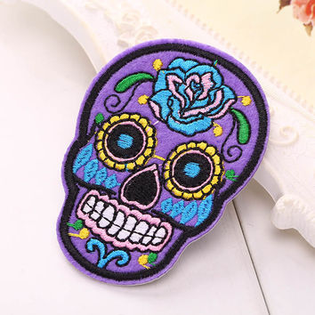 DIY Skull Patch Patch Embroidered Flowered Cloth Patches Fabric Ornament Accessories High Quality New