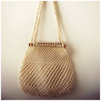 70s MACRAME shoulder bag vintage woven summer beach hippy handbag hippie boho off white lined PURSE crocheted festival hobo tote 1970s bags