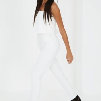 White Bandeau Split Back Cropped Jumpsuit | Jumpsuits | Lavish Alice