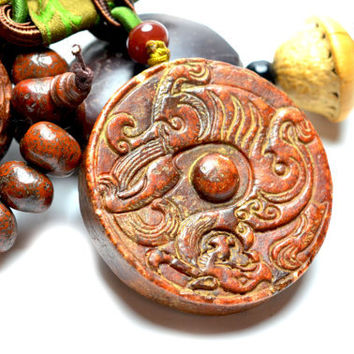 Ancient Fire Dragon Carved Jade Amulet Talisman Necklace, Himalayan Jade Both Sides Carved Pendant 55x55x10 mm