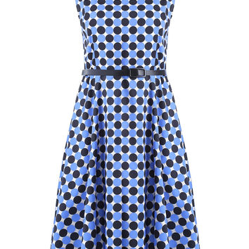 Vintage Polka Dot Print Round Neck Sleeveless Belted Blue Dress