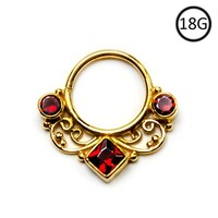 Septum Clicker 14KT Gold Plated over 925 Sterling Silver Red Ruby CZ Indian 10mm 18G