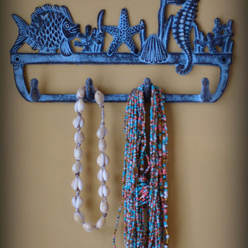 Cast Iron Coral Reef Wall Hook - Fish, Coral, Sea Horse, and Starfish - Jewelry Holder - Key Hook - Towel Hook