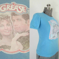Vintage Grease Movie T Shirt Olivia Newton John / John Travolta Small Size / 1970s Memorabilia