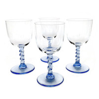 Soft Blue Stemmed Wine Glasses, Cordial or Aperitif Glasses, Mid Century Set of Four