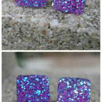 Purple Druzy Earrings Stud Earrings Boho Jewelry Purple Square Druzy 12MM -Southern Stitches Co