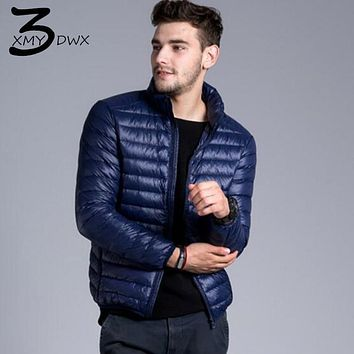 XMY3DWX Fashion male Slim Fit Super light thin 90% White duck down down jacket/Men's pure color Stand collar Casual down jackets