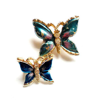 Vintage Painted Butterfly Brooch Pair - Blue Pink - Rhinestone Accent - Scatter Pins - Broach Pin - Figural - Gift For Her - Spring Summer
