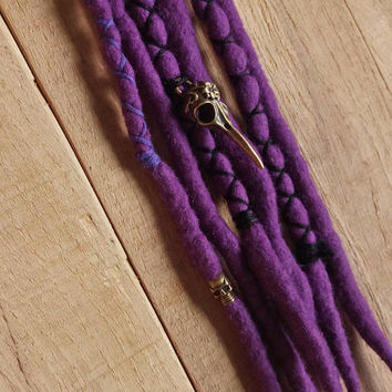 Purple gothic dreads with bird skull, dreadlocks, purple wool dreads with black feather, goth hair jewelry