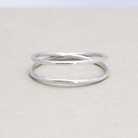 925 sterling silver Double wire ring, small X ring