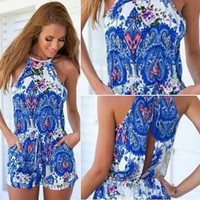 New Fashion Sweet Sexy Paisley Floral  Print Backless Halter Neck Playsuit Rompers = 5658806209