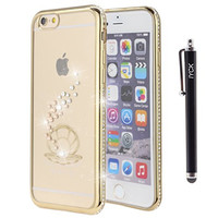 iPhone 6S Plus Case, iYCK Electroplated Crystal Clear Soft Flexible TPU Gel [Studded Full Frame and Back] Diamond Bling Rhinestone Protective Back Case Cover for iPhone 6/6S Plus 5.5 inch - Gold Clam