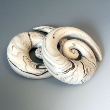 "Gauges, 1/2"" and up. Polymer clay ultralight plugs for stretched ears. Faux marble spirals."