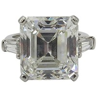 GIA 10.77 Carat Emerald Cut Diamond Platinum Ring