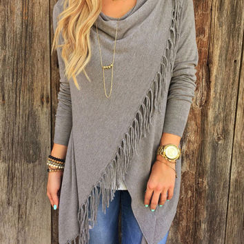 Long Sleeve Knitted Fringed Wrap Sweater
