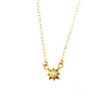 """You are my sunshine"" gold and opal pendant"