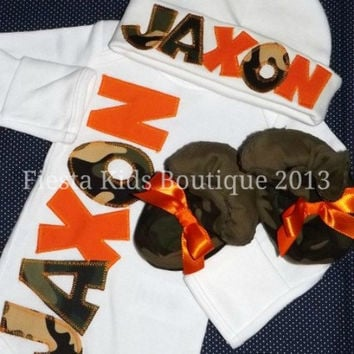 CAMO and ORANGE, newborn baby boy, coming home outfit, baby booties available