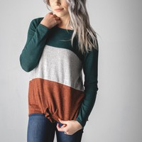 Hunter Green Color Block Self Tie Top