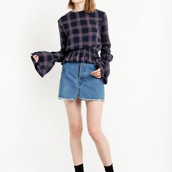 Plaid Bell Sleeve Top
