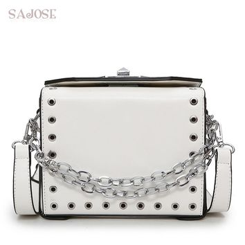 SAJOSE 2017 Female Fashion Box Lock Hollow Girl Small Rivets Women's Messenger Bags Lady Shoulder Tote Women Leather Handbag Bag