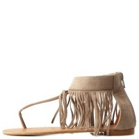 Taupe Fringe Ankle Cuff Thong Sandals by Charlotte Russe