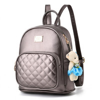 Leather Pendant Mini Backpack   With Teddy Bear