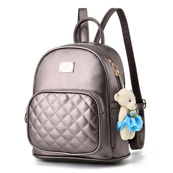 Leather Pendant Mini Backpack | With Teddy Bear