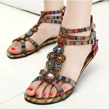 Summer Women Bohemian Style Zipper Flats Shoes Beading Casual Open Toe Sandals