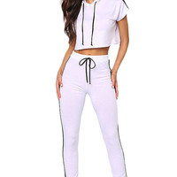 White Double Stripe Hoodie Crop Top Jogger Pant Set