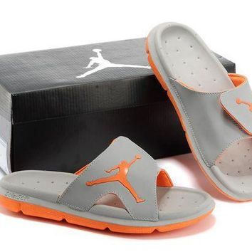 PEAPGE2 Beauty Ticks Nike Air Jordan Gray/orange Casual Sandals Slipper Shoes Size Us 7-13