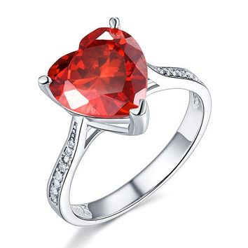 925 Sterling Silver Bridal Ring 3.5 Carat Heart Ruby Red Simulated Diamond Jewelry