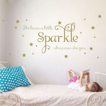 She Leaves a Little Sparkle Girls Room Vinyl Wall Decal Sticker Inspirational Quote with Stars (Gold, 15x36 inches)