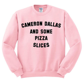 Pink Crewneck Cameron Dallas And Some Pizza Slices Sweatshirt Sweater Jumper Pullover