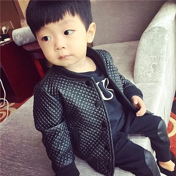 Toddler leather jacket 2017 winter baby boy pu leather jacket plus velet boy Motorcycle jacket child leather coat kids jacket