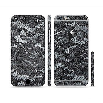 The Black Lace Texture Sectioned Skin Series for the Apple iPhone 6 Plus