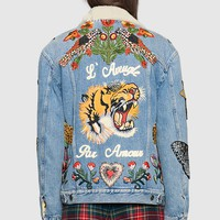 Indie Designs Gucci Inspired Embroidered Denim Shearling Jacket