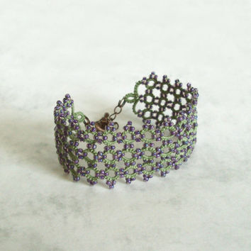 Woodland Fantasy Cuff in Tatting Lace , Beaded Bracelet - Lyanara - Adjustable