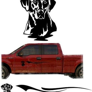 Black Yellow Lab Hunting Dog Trailer Decals Truck Decal Side Set Vinyl Sticker Auto Decor Graphic Kit TT14