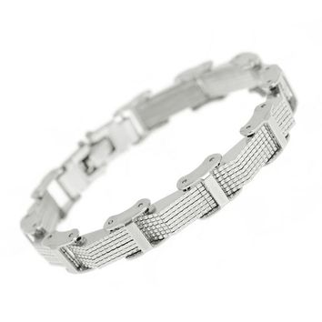 Flawless Silver Link Chain Vow Stainless Steel Cuff Bangle Bracelet for Men by Ritzy
