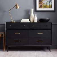 Mid-Century 6-Drawer Dresser - Black