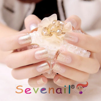 Elegant Shining false nail set  french false nails Unique Style  fake nails acrylic Bride Full design nail tips Fashion Nail art tool hand makeup  285 (Color: Multicolor) = 1930225284