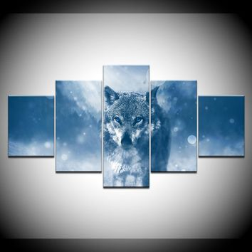 Gray Wolf Snow 5 Pcs Panel Wall Art Canvas Print Picture Poster Framed UNframed