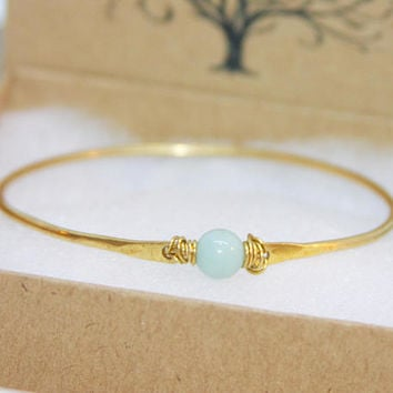 Gold Bangle Bracelet, Gold Bracelet, Gemstone bangle, Gemstone Bracelet, Blue Agate Bangle Bracelet, Thick Bangle Bracelet