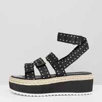 RAID Renato Black Studded Flatform Sandals at asos.com